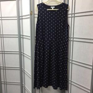 Charter Club Polka Dot Sleeveless Dress Sz XL Navy